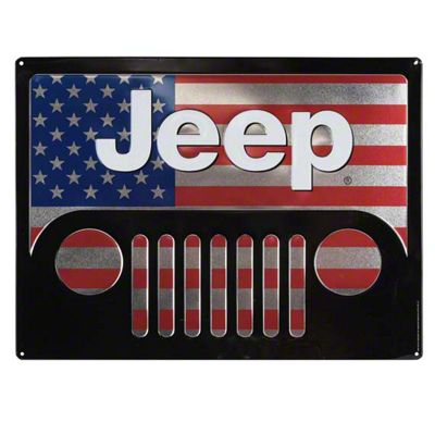 American Flag Jeep Wrangler Grille Embossed Tin Sign