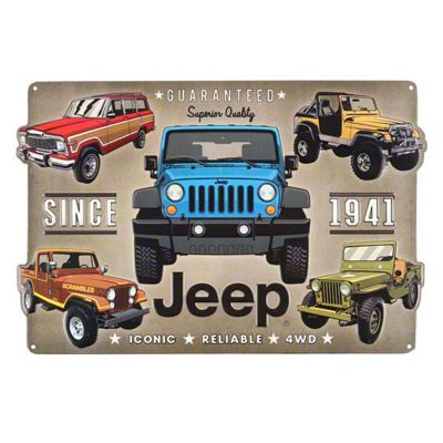 Five Iconic Jeeps Metal Sign