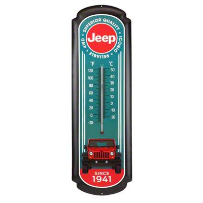 Oversized Red Jeep Tin Thermometer