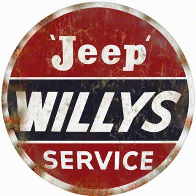 Jeep Willys Service Nostalgic Round Sign