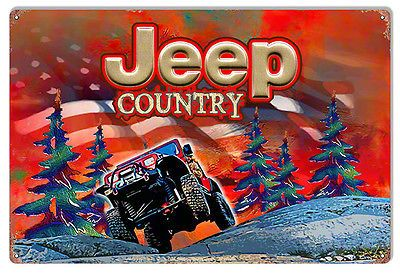 Red Jeep Wrangler YJ Country Winter Scene Metal Sign