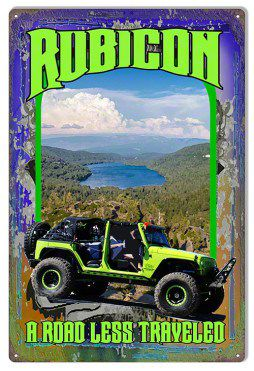 Road Less Traveled Green Jeep Wrangler JK Jeep Metal Sign