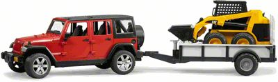 Jeep Wrangler JK Unlimited w/ Trailer & Skid Steer - 1:16 Scale