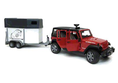 Jeep Wrangler JK Unlimited w/ Horse Trailer & Horse - 1:16 Scale