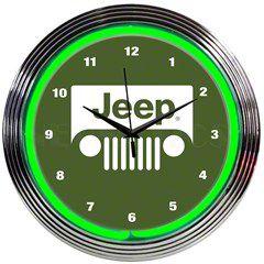 Jeep Wrangler Grille Green Neon Clock