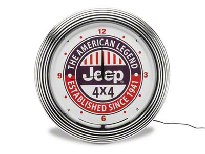 American Legend Jeep 4x4 Neon Clock