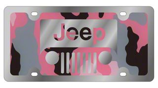 Jeep Wrangler Grille License Plate - Pink Camouflage