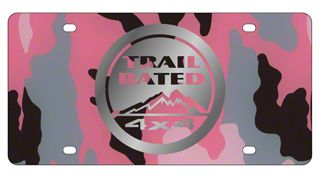 Mirror Finish Trail Rated 4x4 License Plate - Pink Camouflage