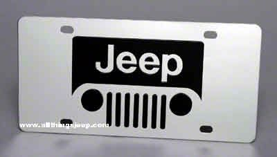 Jeep Wrangler Grille License Plate - Stainless Steel