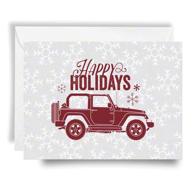 Jeep Holiday Card Happy Holidays - Red Print