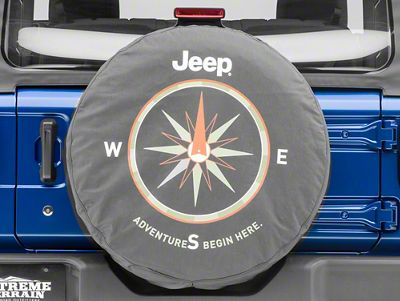 Mopar Adventures Begin Here Spare Tire Cover - Denim (87-18 Jeep Wrangler YJ, TJ, JK & JL)