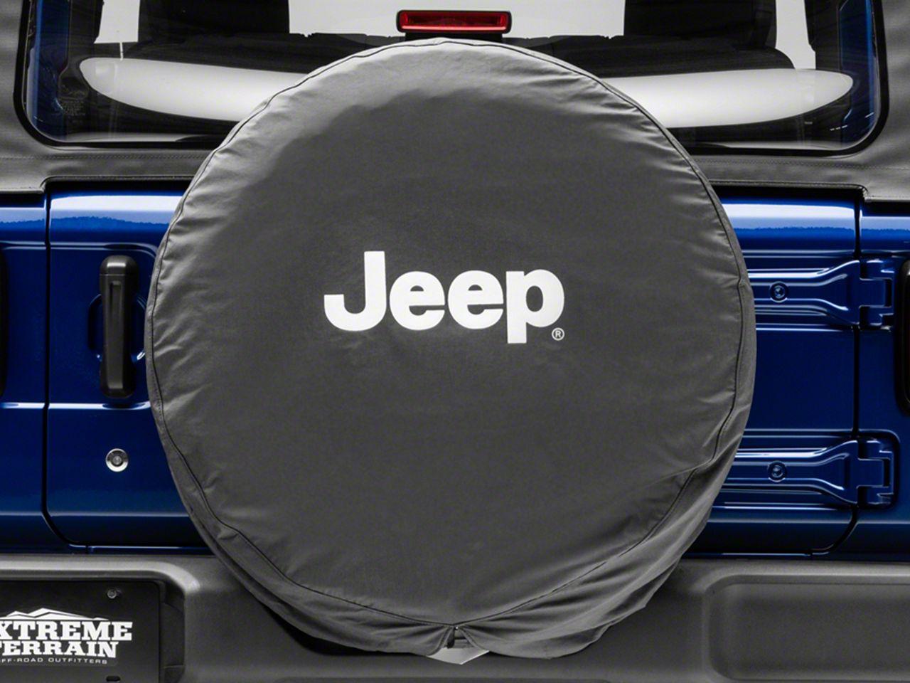 Mopar Jeep Logo Spare Tire Cover - Black & White (87-18 Jeep Wrangler YJ, TJ, JK & JL)
