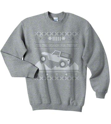 Adult Tis the Season for Jeepin Christmas Crewneck Sweater - Gray