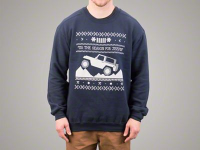Adult Tis the Season for Jeepin Christmas Crewneck Sweater - Navy