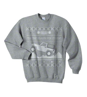 Youth Tis the Season for Jeepin Christmas Crewneck Sweater - Gray