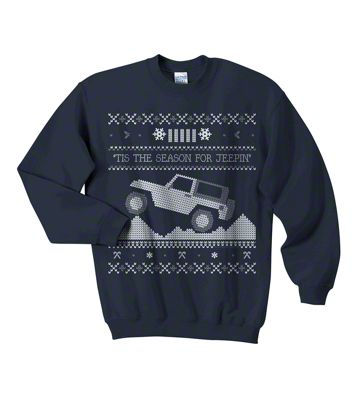 Youth Tis the Season for Jeepin Christmas Crewneck Sweater - Navy
