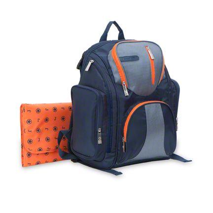 Backpack Diaper Bag - Blue & Orange