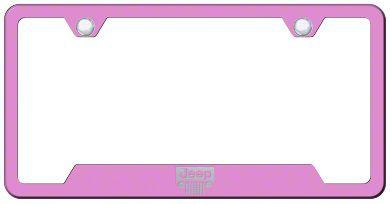 Jeep Wrangler Grille Laser Etched License Plate Frame - Pink
