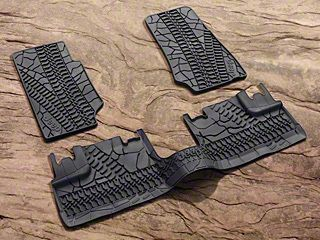 Mopar Slush All Weather Front & Rear Floor Mats w/ Tire Tread Design - Dark Khaki (07-13 Jeep Wrangler JK 4 Door)
