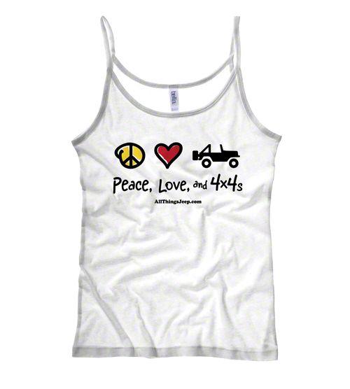 Women's Peace, Love & 4x4s White Spaghetti Strap Tee