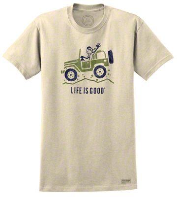 Life is Good Mens Off Road Greeting Simply Ivory T-Shirt - Medium