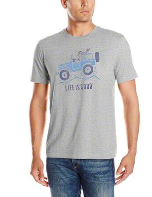 Life is Good Mens Off Road Greeting Heather Gray T-Shirt - XXL