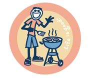 Life is Good Jake BBQing Sticker
