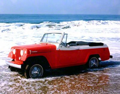 1967 Red Jeepster at the Beach Refrigerator Magnet