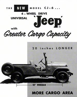 1960 Willys Jeep CJ-6 Long Wheel Base Ad Refrigerator Magnet