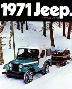 1971 AMC Jeep CJ5 w/ Snowmobile Refrigerator Magnet
