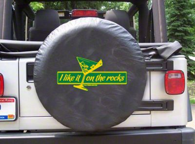 35 in. I Like It On The Rocks Spare Tire Cover - Black (87-18 Jeep Wrangler YJ, TJ, JK & JL)