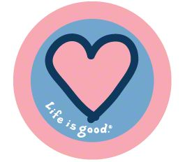 Life is Good Pink Heart on Blue Sticker