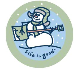Life is Good Jammin' Snowman on Blue Sticker