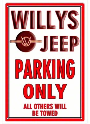 Willys Jeep Parking Only Metal Sign