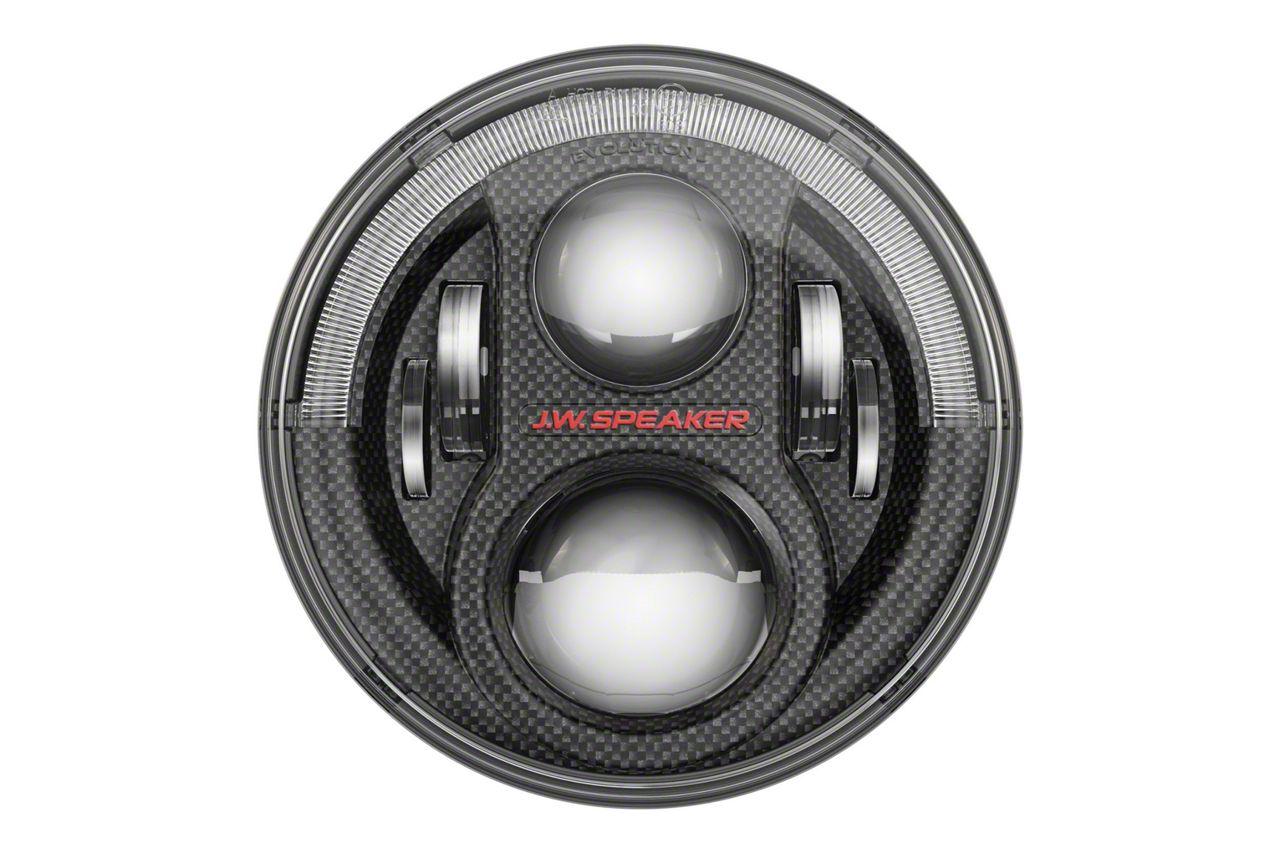 J.W. Speaker Model 8700 Evolution J2 Series LED Headlights w/ Carbon Fiber Bezel (07-18 Jeep Wrangler JK)
