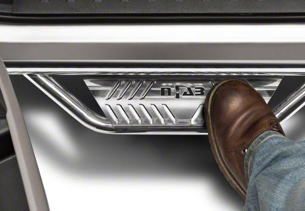 N-Fab Cab Length Podium Nerf Side Step Bars - Polished Stainless (18-19 Jeep Wrangler JL 4 Door)