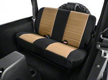 Rugged Ridge Neoprene Rear Seat Cover - Tan/Black (03-06 Jeep Wrangler TJ)