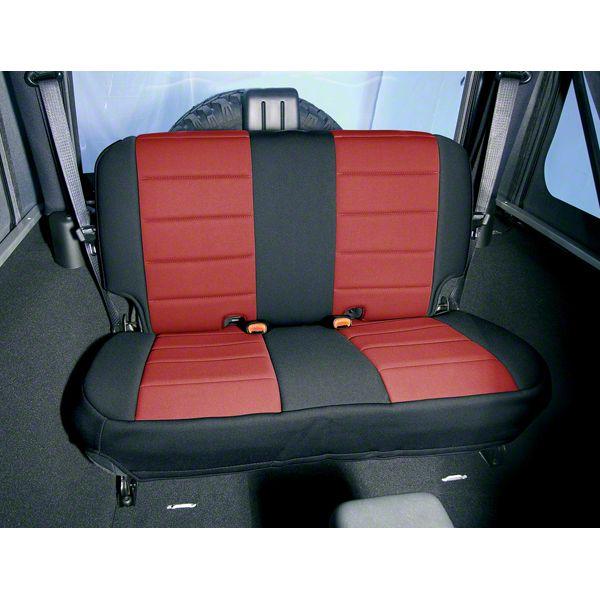 Rugged Ridge Neoprene Rear Seat Cover - Red/Black (03-06 Jeep Wrangler TJ)
