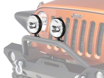 Rugged Ridge 6 in. Slim Halogen Fog Lights - Black - Pair (87-18 Jeep Wrangler YJ, TJ, JK & JL)