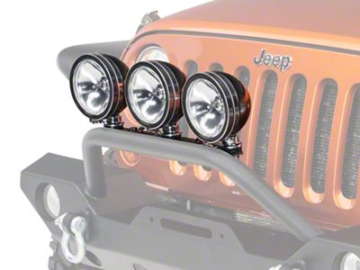Rugged Ridge 6 in. Halogen Fog Lights - Black - Set of Three (87-19 Jeep Wrangler YJ, TJ, JK & JL)
