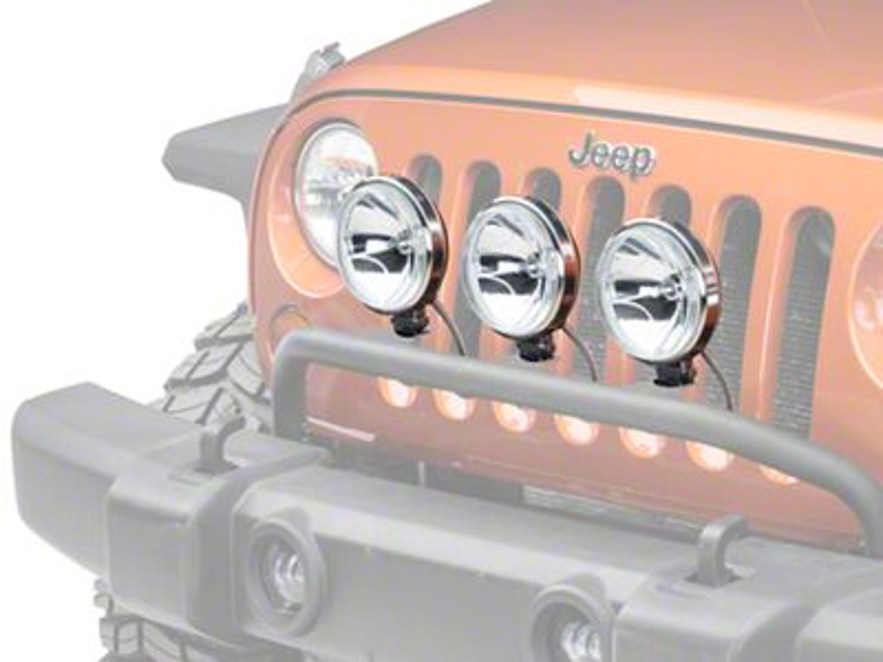 Rugged Ridge 6 in. Slim Halogen Fog Lights - Stainless Steel - Set of Three (87-19 Jeep Wrangler YJ, TJ, JK & JL)