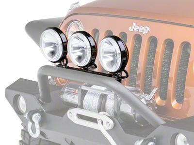 Rugged Ridge 6 in. Slim Halogen Fog Lights - Black - Set of Three (87-18 Jeep Wrangler YJ, TJ, JK & JL)