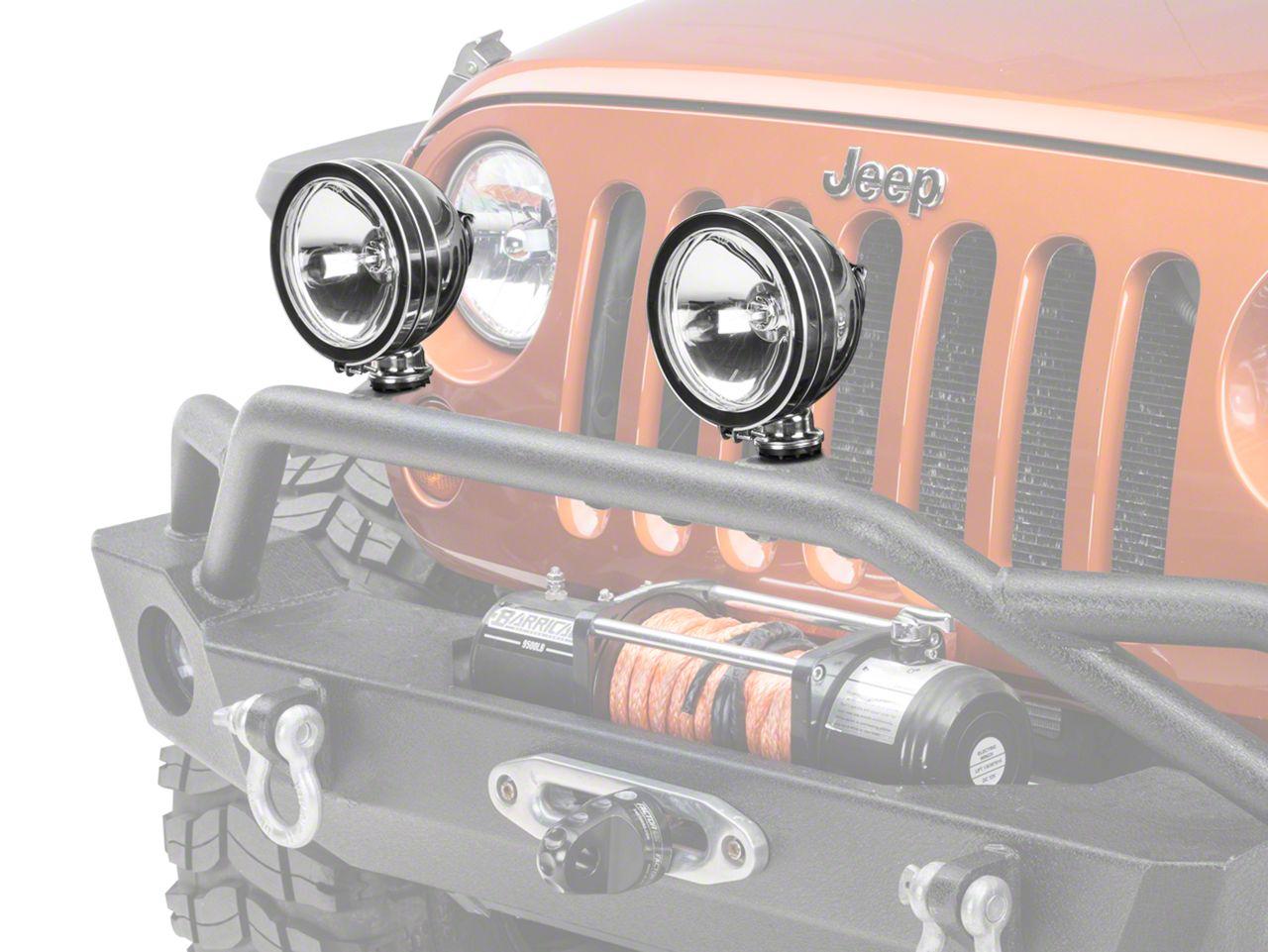 Rugged Ridge 6 in. Halogen Fog Light - Stainless Steel - Single (87-19 Jeep Wrangler YJ, TJ, JK & JL)