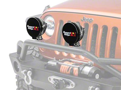 Rugged Ridge 6 in. Off-Road Light Cover - Black (87-18 Jeep Wrangler YJ, TJ, JK & JL)