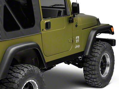Olympic 4x4 1/8 in. Thick A/T Rocker Panel Guards - Textured Black (97-06 Jeep Wrangler TJ)