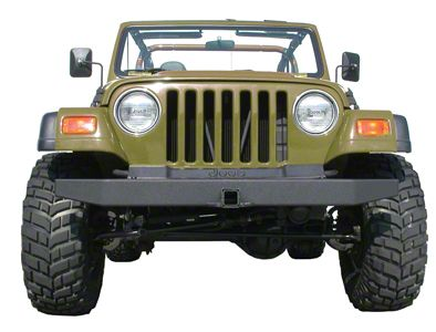 Olympic 4x4 57 in. Front Rock Bumper w/ Hitch - Textured Black (87-06 Jeep Wrangler YJ & TJ)