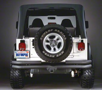 Olympic 4x4 Double Tube Rear Bumper w/ Hitch - Textured Black (87-95 Jeep Wrangler YJ)