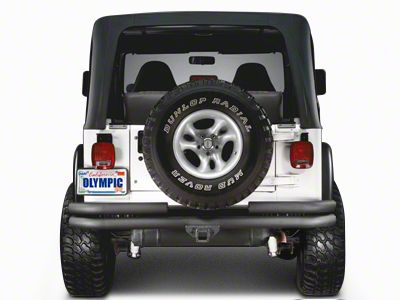 Olympic 4x4 Double Tube Rear Bumper w/ Hitch - Textured Black (97-06 Jeep Wrangler TJ)