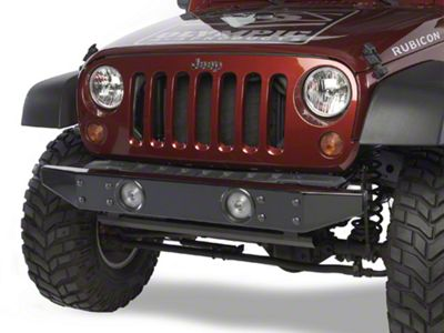 Olympic 4x4 Front Rock Bumper - Rubicon Black (07-18 Jeep Wrangler JK)