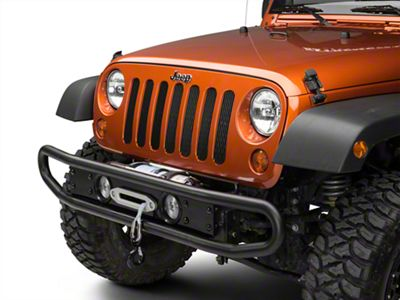 Olympic 4x4 Products Diamond Back Front Bumper - Rubicon Black (07-09 Jeep Wrangler JK 4 Door)